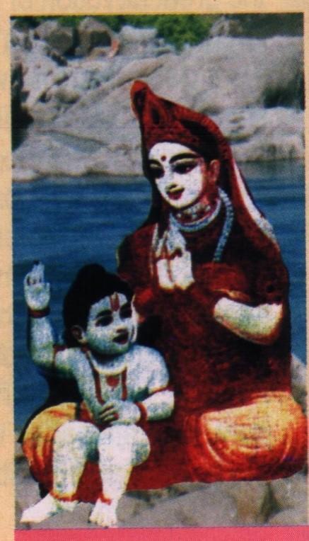 تصویری از راما و ملکه اورچا در کنار رود سارایو - معبد رام راجا