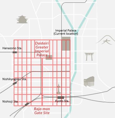 نقشهی باستانی شهر کیوتو که روی نقشهی کنونی رسم شده است