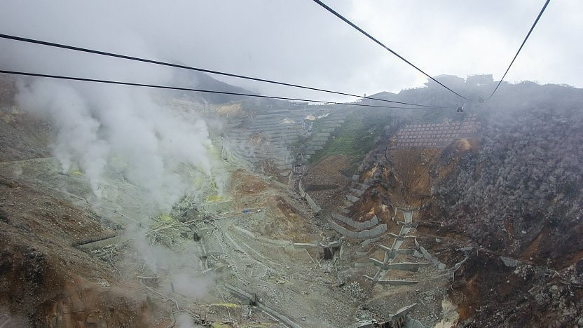 چشماندازی زیبا به معدن استخراج سولفور در مسیر تلهکابین هاکونه در ژاپن